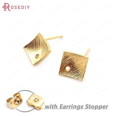 (33754)10PCS 8.5MM 24K Gold Color Brass Rhombus Arc Surface Stud Earrings