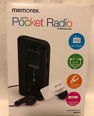 Memorex MR4240 Portable AM/FM Pocket Radio, Black NEW IN BOX