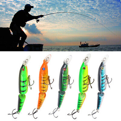 5PCS CrankBait Fish Minnow Crank Bait Fishing Lures Tackle Multi-jointed 10.5cm