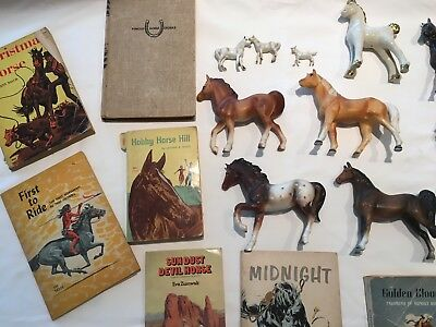 lot of horse figurines/books for child horse lovers