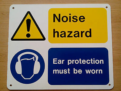 SAFETY SIGNS NOISE Hazard Ear Protection Must Be Worn Plastic Sign
