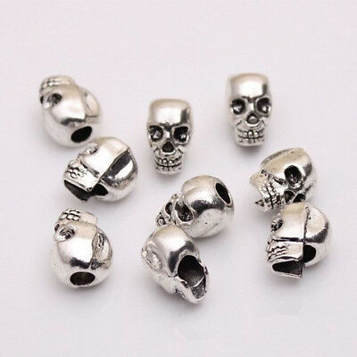 10 Pcs Antique Silver Skull Head Spacer Beads DIY Jewelry Bracelet Findings
