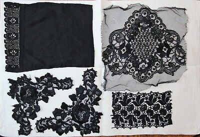 Various pieces of vintage black lace, net and beading.