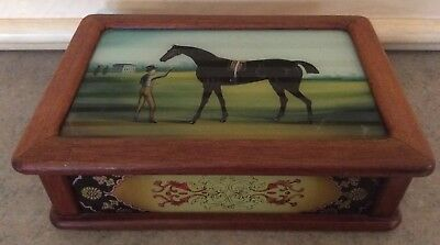 "JEWELRY BOX :: Vintage PAINTED GLASS PANEL 8""x 5 1/2"" WOOD Horse Pastoral CHINA"