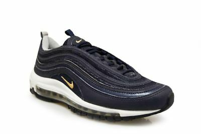 NIKE AIR MAX 97 Uk 10.5 Genuine Navy Blue + Gold 921826 400