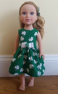 Handmade Doll Clothes fits Journey Girl  Doll Shamrock Dress & Hair Bow FREE P&P