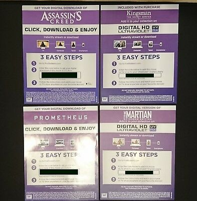 4 Movie pack Digital Download code from UK 4K UHD BluRay releases