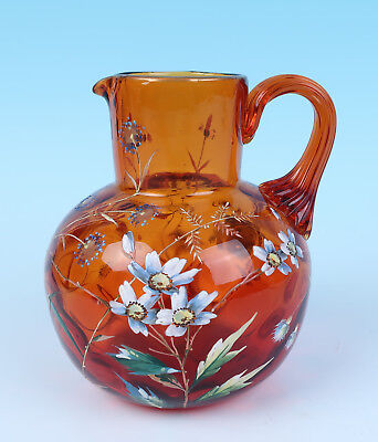 Unusual Pontil QUALITY Antique Enameled Amberina Optic Glass Pitcher Victorian