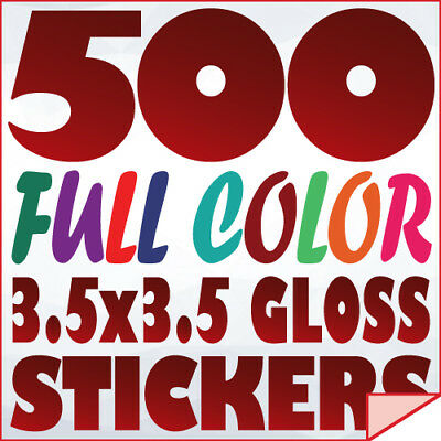 500 Full Color Custom 3.5x3.5 STICKERS on 70Lb Label Printing with UV Gloss