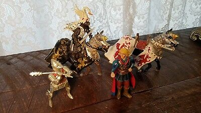 Plastoy Knights & Legends Medieval 5pc Lot Swan Knight Prince Charming Figures+