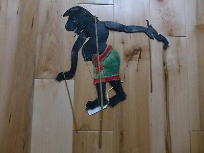 Rare Antique Indonesia Java Petruk Hand Painted Leather SHADOW PUPPET sp29