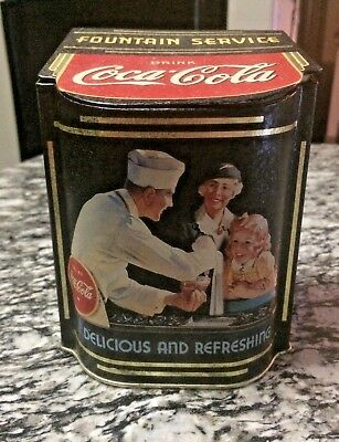 Coca Cola Tin Box Lid Fountain Service Stash Storage 1995 vintage collectible