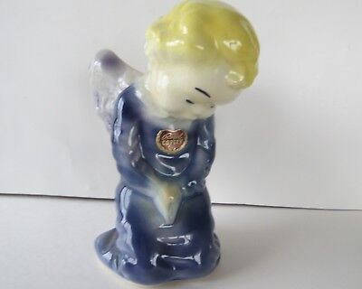 Vintage Royal Copley Blue Praying Angel Wall Pocket/Planter