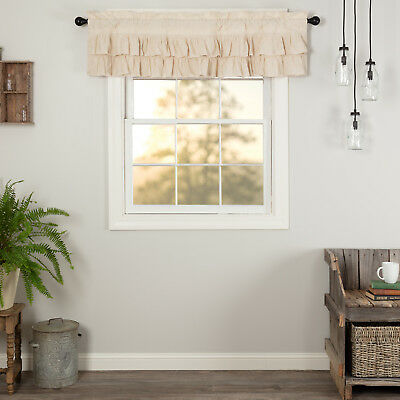 Farmhouse Kitchen Curtains Simplicity Flax Valance Rod Pocket Solid Color