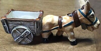 """Vintage Pottery Donkey and Cart Planter 7X2"""" Great for succulent plants"""