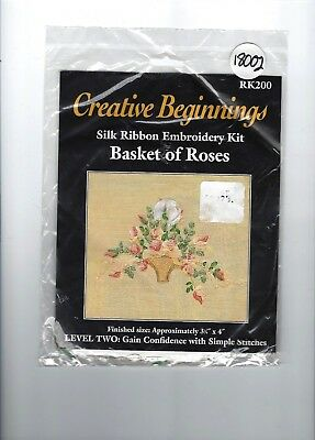 "Creative Beginnings Silk Ribbon Embroidery Kit, ""Basket of Roses"", Level Two"