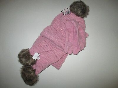 New Girls Size 7-14 Toby Faux Fur Hat, Gloves & Scarf Set