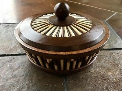 Vintage Olive Wood & Porcupine Quill Lidded Round Box Bowl w/ Lid From Ethiopia