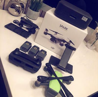DJI Spark Lime Green Drone Fly More Combo + Many extras - Excellent Condition