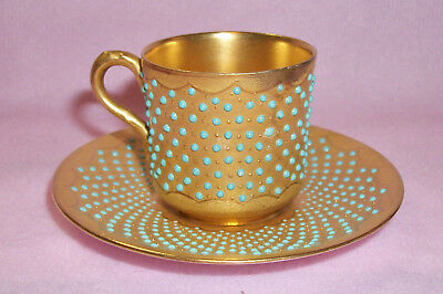 Antique COALPORT Gold Gilt & Turquoise Jeweled Dots Demitasse Cup & Saucer