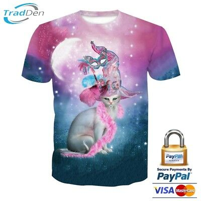 New 3D Men Women T-Shirt Funny Psychedelic Pink Summer All Size Animal Magic Cat