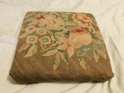 Antique Hand Embroidered Footstool, from late 1800s