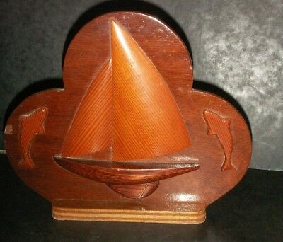 Large Wooden Embossed Letter Rack  -  With Yacht And Dolphins  - Vintage Treen