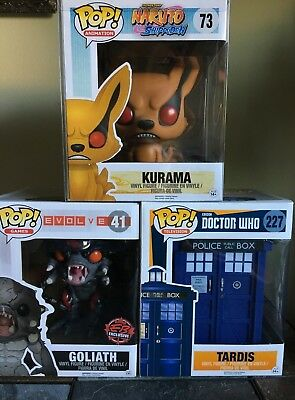 "Funko Pop 6"" Lot (Kurama, Goliath & Tardis - Brand New)"