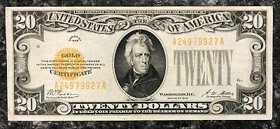 1928 $20 Twenty Dollar Gold Certificate ~ Fine Condition! Nr!