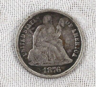 1876 CC Seated Liberty Dime Carson City Mint