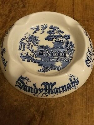 Sandy Macnabs Old Liqueur Scotch Whisky Ashtray,Blue&Whi made by Mintons England