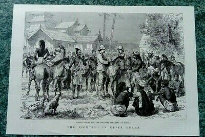 Antique print 1886 'Fighting In Upper Burma' Infantry Metila, from the Graphic