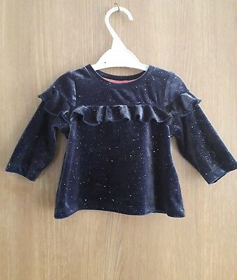 M&s Baby Girls Navy Mix Top Age 3/6 Months