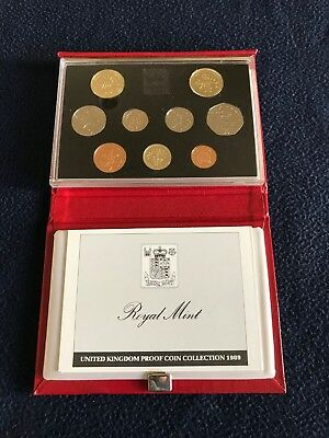 United Kingdom UK Deluxe (Red Case) Proof Set - 1989 w/COA