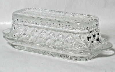 Anchor Hocking Wexford Pressed Glass Covered Butter Dish