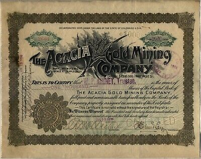 1899 Acacia Gold Mining Company Stock Certificate Cripple Creek Colorado