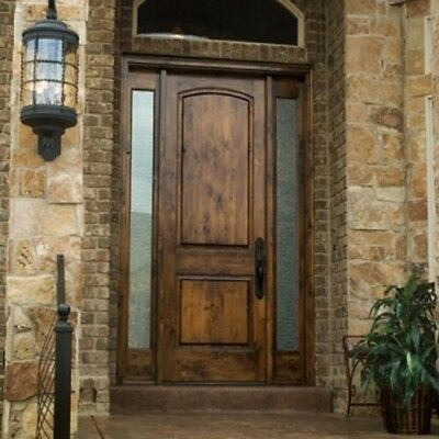 Entry Door Knotty Alder 3080 / Solid Wood Front Door with Sidelites and Glass