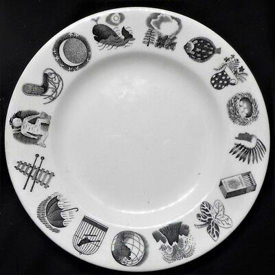 Wedgwood 'alphabet'  Original Side Plate By Eric Ravilious, Dated 1953