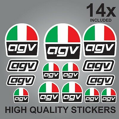 14x AGV HELMET STICKER SHEET DECALS STICKERS VINYL SPONSOR KIT BIKE MOTORCYCLE