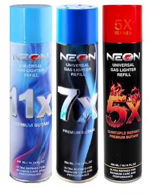 3 Cans, 300 mL NEON 5X 7X 11X Refined Butane Gas Filtered Lighters Refill Fluid