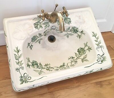 Antique Sink Victorian French with Brass Mixer Taps Stunning Green Floral Decor