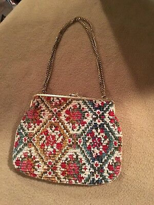 Vintage Ladies Boutique  Tapestry Evening Purse / Gold Chain / Chic/ Diamond