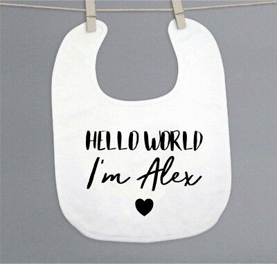 Funky PERSONALISED 'HELLO WORLD' Unisex baby clothing BIB great baby shower gift