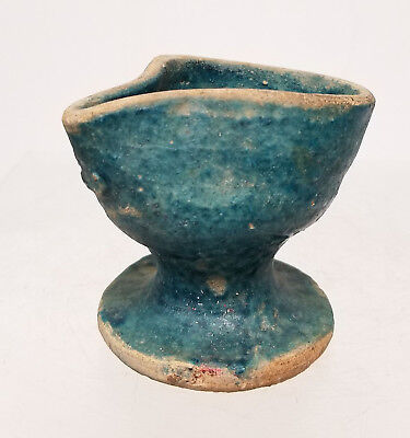 Antique Early Persian Middle Eastern Turquoise Blue Glazed Pitcher Oil Lamp