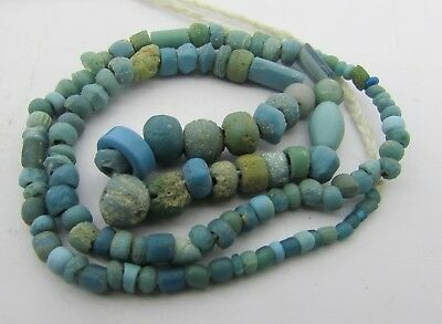 Ancient Roman Glass beads string in Turquoise color from Afghanistan.