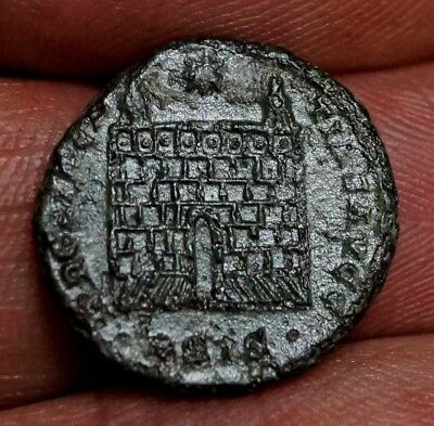 RARE CONSTANTINE I, LEGION FORT GATE & Front Step, 2.8g, 18mm Ancient Roman Coin