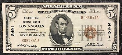 1929 $5 Los Angeles U.s. National Currency Note Brown Seal ~ F Condition! Nr!
