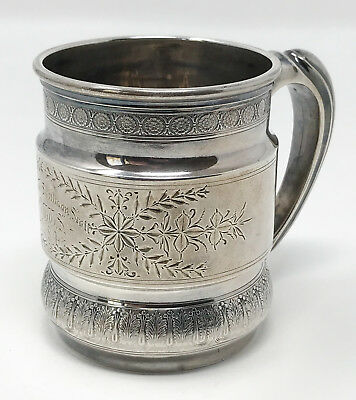 Antique Whiting Sterling Silver Aesthetic Engraved Victorian Child's Mug SCP