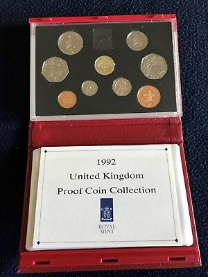 United Kingdom UK Deluxe (Red Case) Proof Set - 1992 w/COA