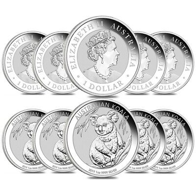 Lot of 10 - 2019 1 oz Silver Australian Koala Perth Mint .9999 Fine BU In Cap